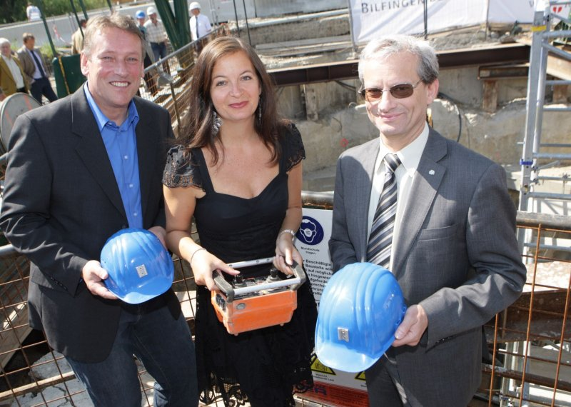 Baustellenbesichtigung und Tunnelbaufeier für den Hightechkanal für Aspern Nobert Scheed, StRin Ulli Sima, Andreas Ilmer